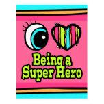 Bright Eye Heart I Love Super Hero Postcard
