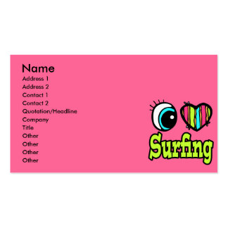 Bright Eye Heart I Love Surfing Business Card Templates