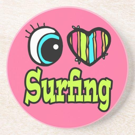 Bright Eye Heart I Love Surfing Drink Coasters