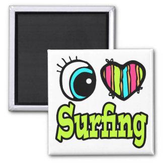 Bright Eye Heart I Love Surfing Fridge Magnet