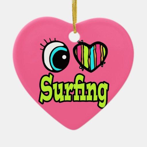 Bright Eye Heart I Love Surfing Double-Sided Heart Ceramic Christmas Ornament