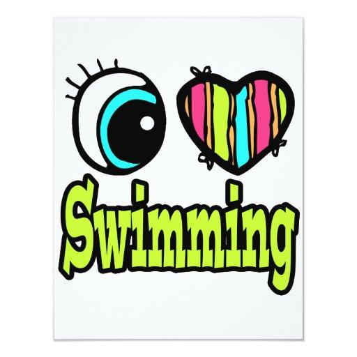 Bright Eye Heart I Love Swimming Custom Invitations
