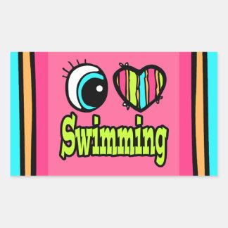 Bright Eye Heart I Love Swimming Rectangle Sticker