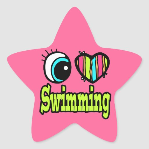Bright Eye Heart I Love Swimming Stickers