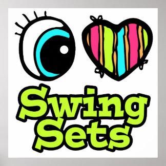 Bright Eye Heart I Love Swing Sets Print