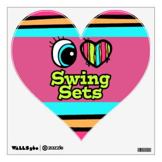Bright Eye Heart I Love Swing Sets Wall Graphics