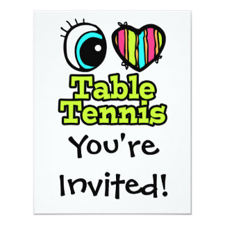Bright Eye Heart I Love Table Tennis Personalized Announcements