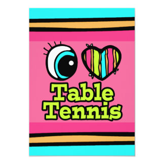 Bright Eye Heart I Love Table Tennis Personalized Invitation