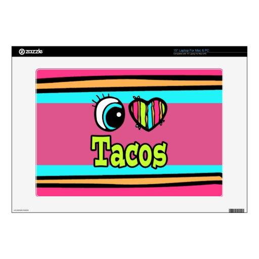 "Bright Eye Heart I Love Tacos 15"" Laptop Skin"