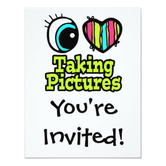 """Bright Eye Heart I Love Taking Pictures 4.25"""" X 5.5"""" Invitation Card"""