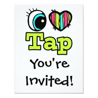 Bright Eye Heart I Love Tap 4.25x5.5 Paper Invitation Card