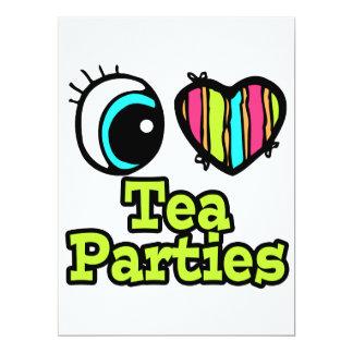 Bright Eye Heart I Love Tea Parties 6.5x8.75 Paper Invitation Card