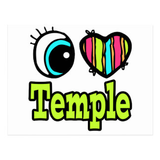 Bright Eye Heart I Love Temple Postcard