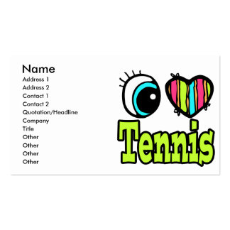 Bright Eye Heart I Love Tennis Double-Sided Standard Business Cards (Pack Of 100)