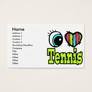Bright Eye Heart I Love Tennis Business Card