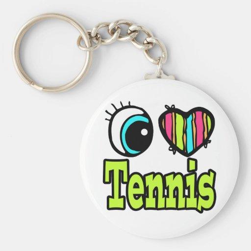 Bright Eye Heart I Love Tennis Keychain