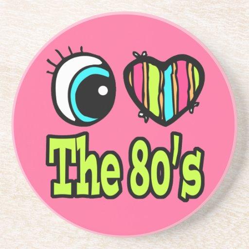 Bright Eye Heart I Love the 80s Beverage Coaster