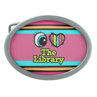 Bright Eye Heart I Love The Library Oval Belt Buckle