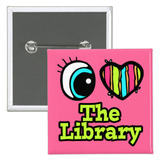 Bright Eye Heart I Love The Library 2 Inch Square Button