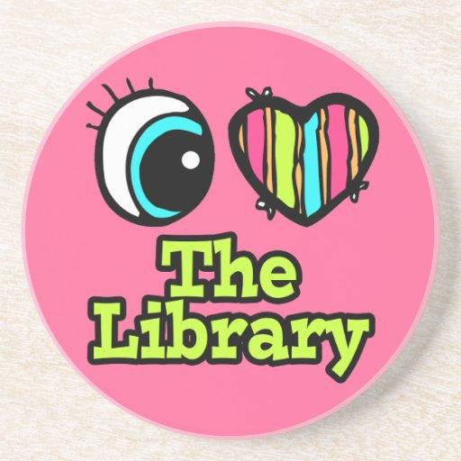 Bright Eye Heart I Love The Library Beverage Coaster