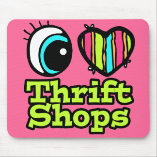 Bright Eye Heart I Love Thrift Shops Mouse Pad