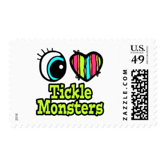 Bright Eye Heart I Love Tickle Monsters Postage Stamps