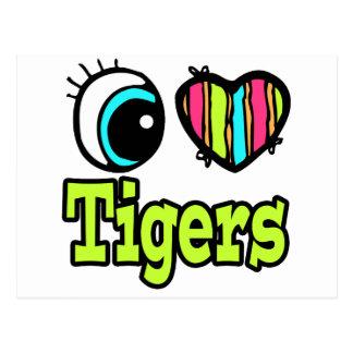 Bright Eye Heart I Love Tigers Post Card