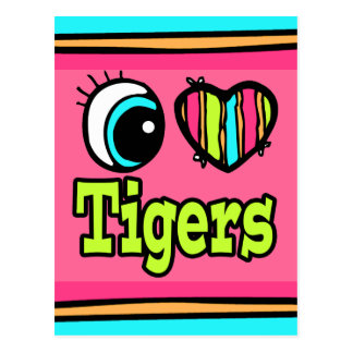 Bright Eye Heart I Love Tigers Post Cards
