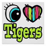 Bright Eye Heart I Love Tigers Print