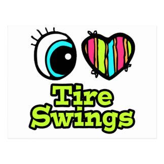 Bright Eye Heart I Love Tire Swings Postcard