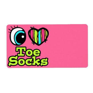 Bright Eye Heart I Love Toe Socks Personalized Shipping Labels