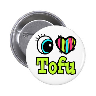 Bright Eye Heart I Love Tofu 2 Inch Round Button