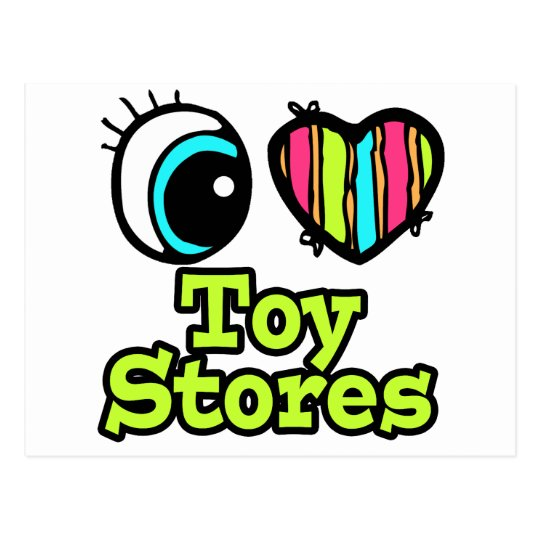 Bright Eye Heart I Love Toy Stores Postcard