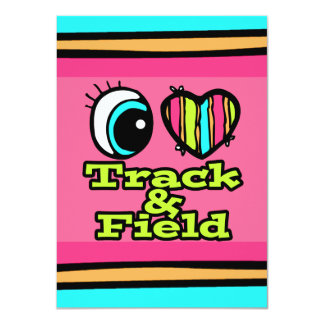 Bright Eye Heart I Love Track and Field 4.5x6.25 Paper Invitation Card