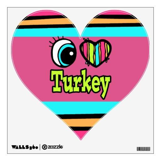 Bright Eye Heart I Love Turkey Wall Sticker