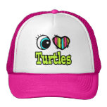 Bright Eye Heart I Love Turtles Trucker Hats