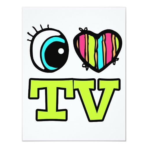 Bright Eye Heart I Love TV 4.25x5.5 Paper Invitation Card