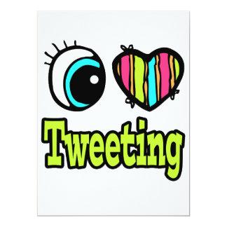Bright Eye Heart I Love Tweeting 6.5x8.75 Paper Invitation Card