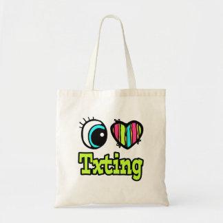 Bright Eye Heart I Love Txting Canvas Bags