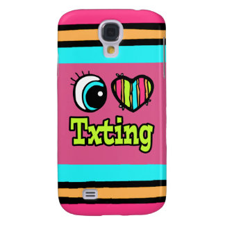Bright Eye Heart I Love Txting Samsung Galaxy S4 Cover