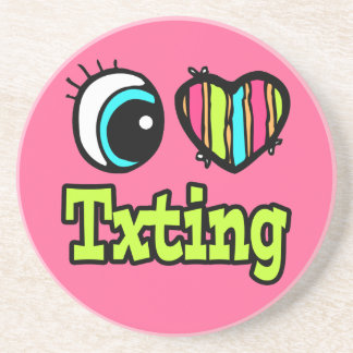 Bright Eye Heart I Love Txting Beverage Coasters