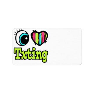 Bright Eye Heart I Love Txting Address Label
