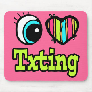 Bright Eye Heart I Love Txting Mouse Pads