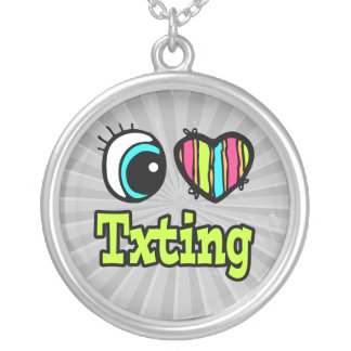 Bright Eye Heart I Love Txting Necklace