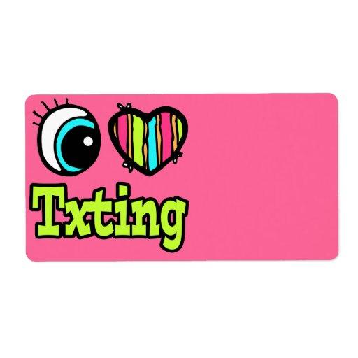 Bright Eye Heart I Love Txting Shipping Label