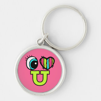 Bright Eye Heart I Love U You Silver-Colored Round Keychain