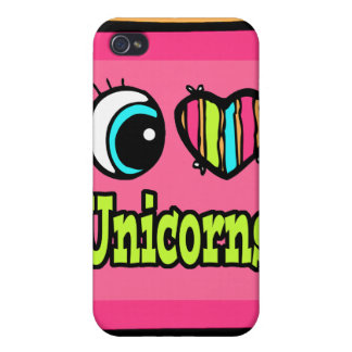 Bright Eye Heart I Love Unicorns Case For iPhone 4