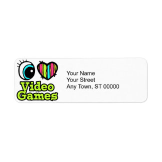 Bright Eye Heart I Love Video Games Label