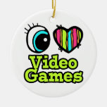 Bright Eye Heart I Love Video Games Double-Sided Ceramic Round Christmas Ornament