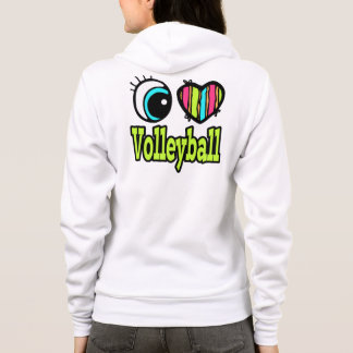 Bright Eye Heart I Love Volleyball Hoodie